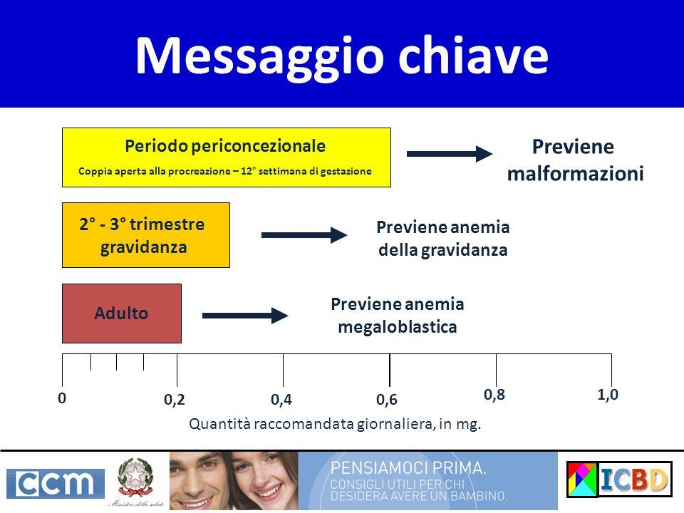 Messaggio chiave Adulto Quantità raccomandata giornaliera, in mg. 0 0,40,20,6 1,00,8 2° - 3° trimestre gravidanza Periodo periconcezionale Coppia aper