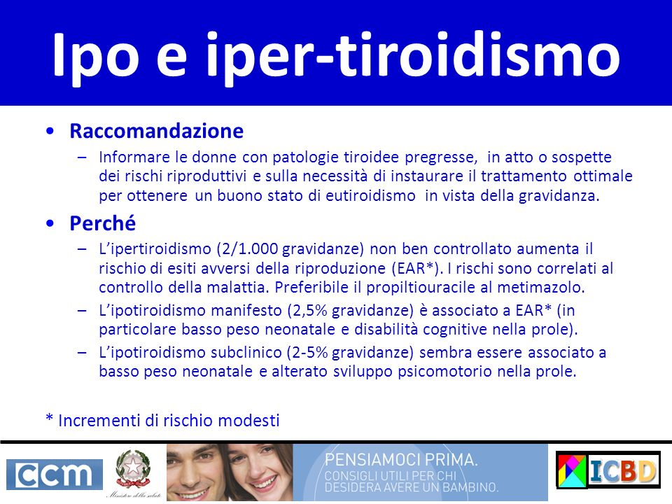 Raccomandazione –Informare le donne con patologie tiroidee pregresse, in atto o sospette dei rischi riproduttivi e sulla necessità di instaurare il tr
