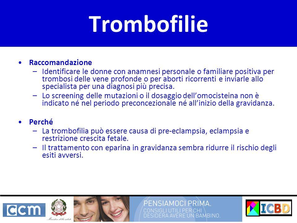 Trombofilie Raccomandazione –Identificare le donne con anamnesi personale o familiare positiva per trombosi delle vene profonde o per aborti ricorrent