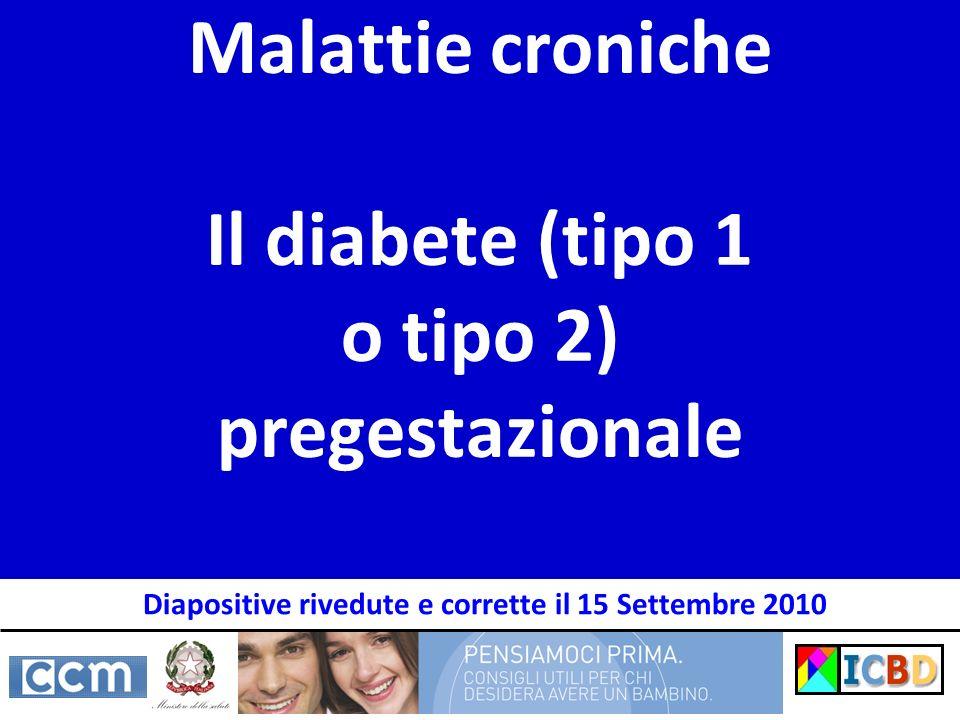 Malattie croniche Il diabete (tipo 1 o tipo 2) pregestazionale Diapositive rivedute e corrette il 15 Settembre 2010
