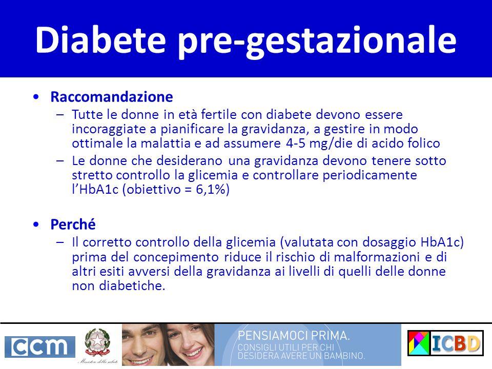 Raccomandazione –Tutte le donne in età fertile con diabete devono essere incoraggiate a pianificare la gravidanza, a gestire in modo ottimale la malattia e ad assumere 4-5 mg/die di acido folico –Le donne che desiderano una gravidanza devono tenere sotto stretto controllo la glicemia e controllare periodicamente lHbA1c (obiettivo = 6,1%) Perché –Il corretto controllo della glicemia (valutata con dosaggio HbA1c) prima del concepimento riduce il rischio di malformazioni e di altri esiti avversi della gravidanza ai livelli di quelli delle donne non diabetiche.