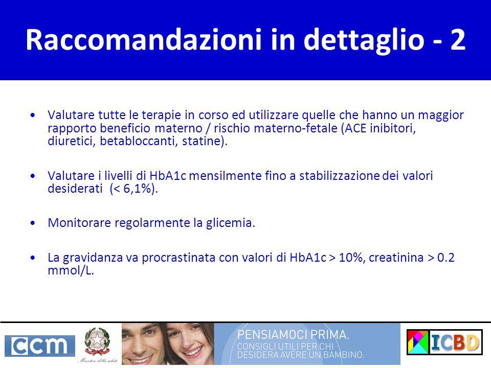 Raccomandazioni in dettaglio - 2 Valutare tutte le terapie in corso ed utilizzare quelle che hanno un maggior rapporto beneficio materno / rischio materno-fetale (ACE inibitori, diuretici, betabloccanti, statine).