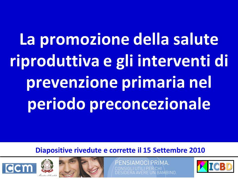 Il contesto Esiti avversi della riproduzione (malformazioni e prematurità) Prevenzione primaria dei fattori di rischio Counseling preconcezionale Salute della donna … in età riproduttiva