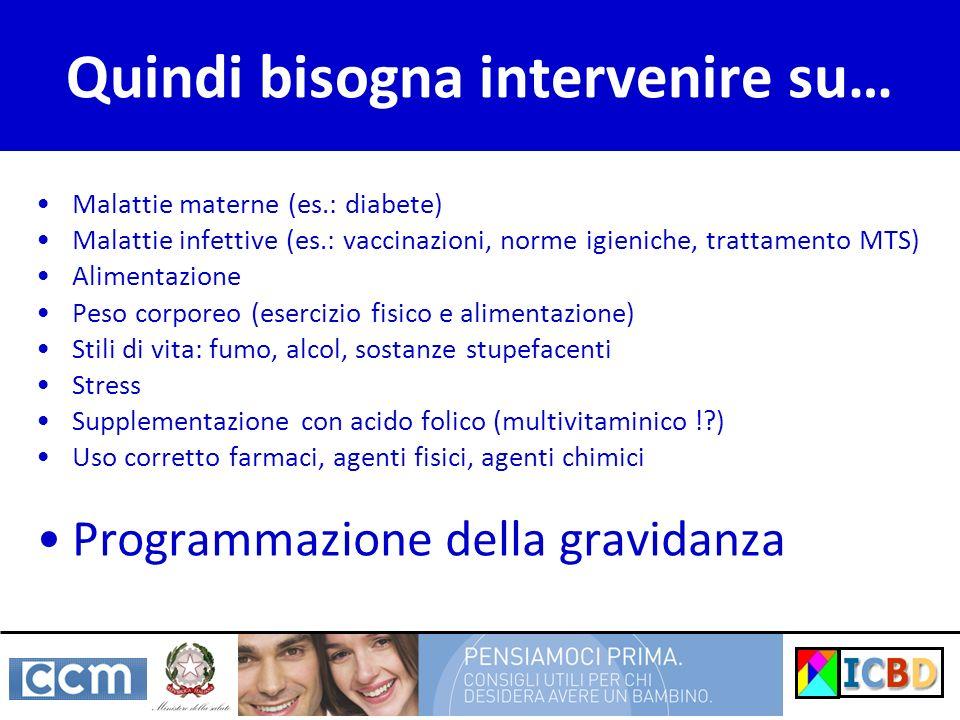 Quindi bisogna intervenire su… Malattie materne (es.: diabete) Malattie infettive (es.: vaccinazioni, norme igieniche, trattamento MTS) Alimentazione