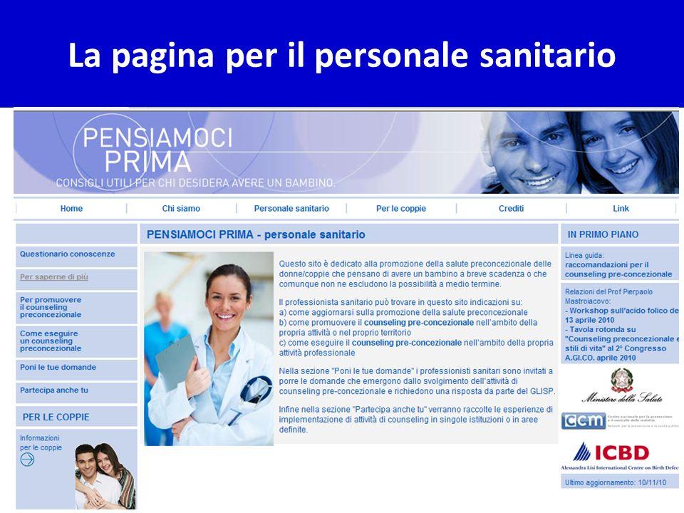 La pagina per il personale sanitario