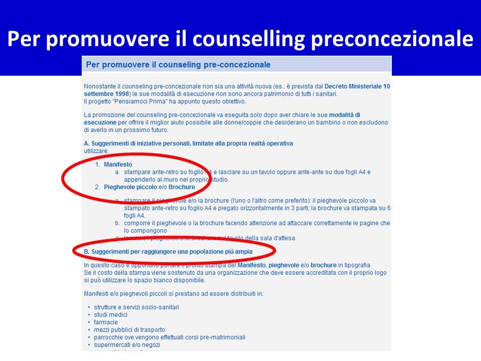 Per promuovere il counselling preconcezionale