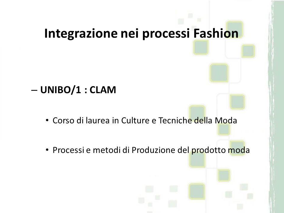 – UNIBO/1 : CLAM Corso di laurea in Culture e Tecniche della Moda Processi e metodi di Produzione del prodotto moda