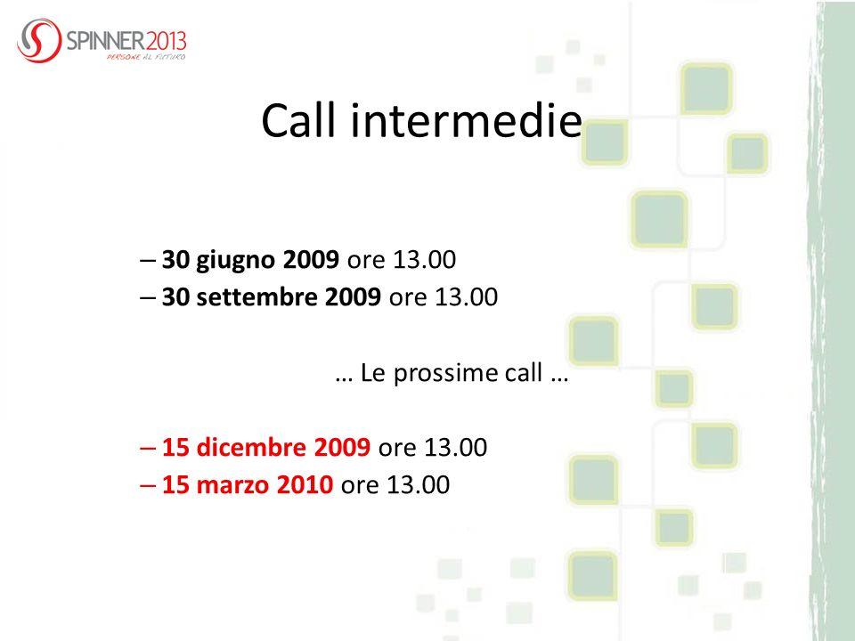 Call intermedie – 30 giugno 2009 ore 13.00 – 30 settembre 2009 ore 13.00 … Le prossime call … – 15 dicembre 2009 ore 13.00 – 15 marzo 2010 ore 13.00