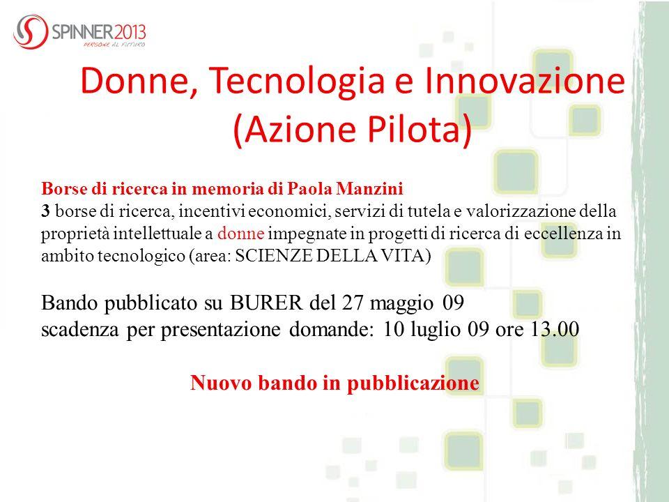 Borse di ricerca in memoria di Paola Manzini 3 borse di ricerca, incentivi economici, servizi di tutela e valorizzazione della proprietà intellettuale