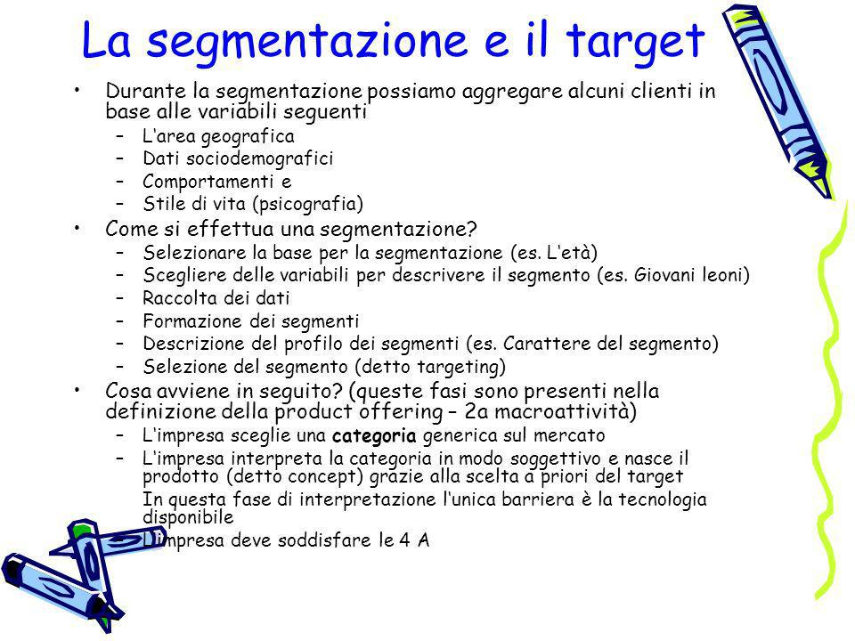 La segmentazione e il target Durante la segmentazione possiamo aggregare alcuni clienti in base alle variabili seguenti –Larea geografica –Dati sociod