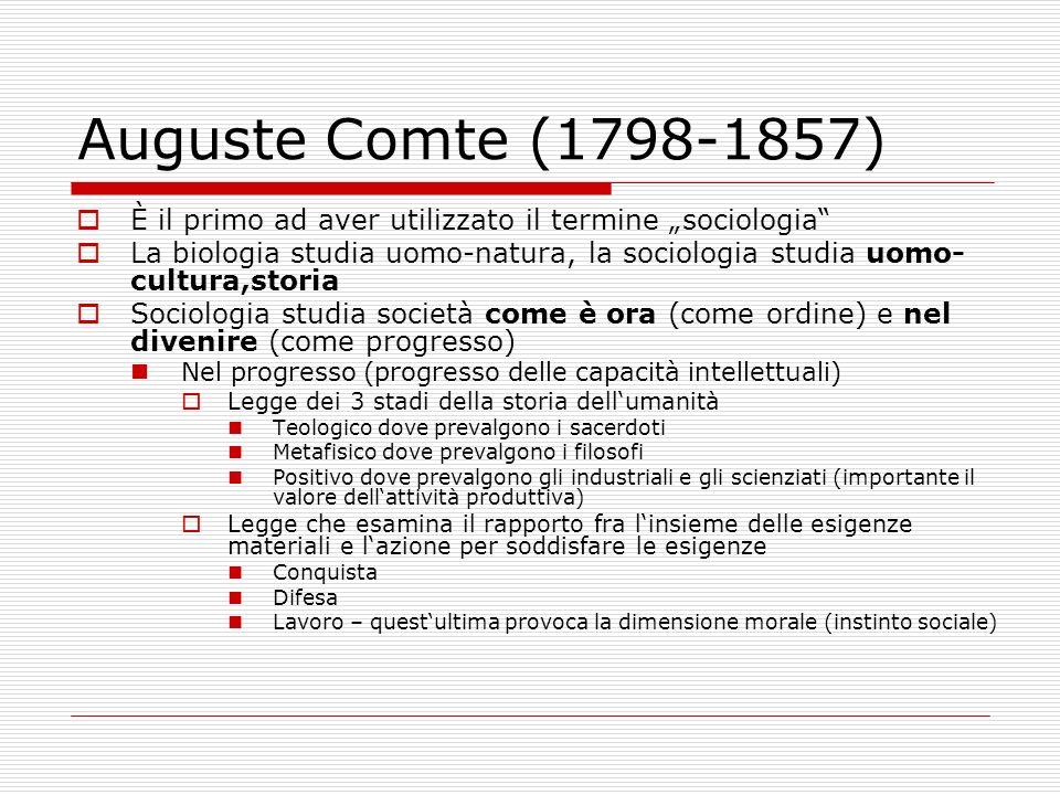Auguste Comte (1798-1857) Statica sociale (aspetti della società che sono costanti) Le strutture costanti Istituzioni politiche e religiose (attività: controllo) Famiglia Linguaggio Come si mantiene lunità nella società.