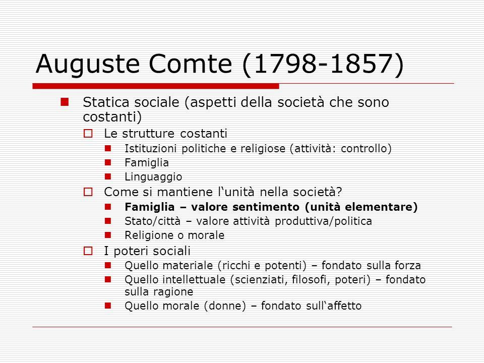 Auguste Comte (1798-1857) Statica sociale (aspetti della società che sono costanti) Le strutture costanti Istituzioni politiche e religiose (attività: