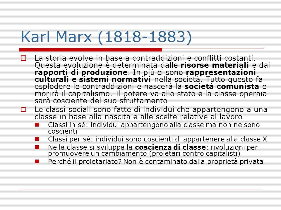 Karl Marx (1818-1883) La storia evolve in base a contraddizioni e conflitti costanti. Questa evoluzione è determinata dalle risorse materiali e dai ra