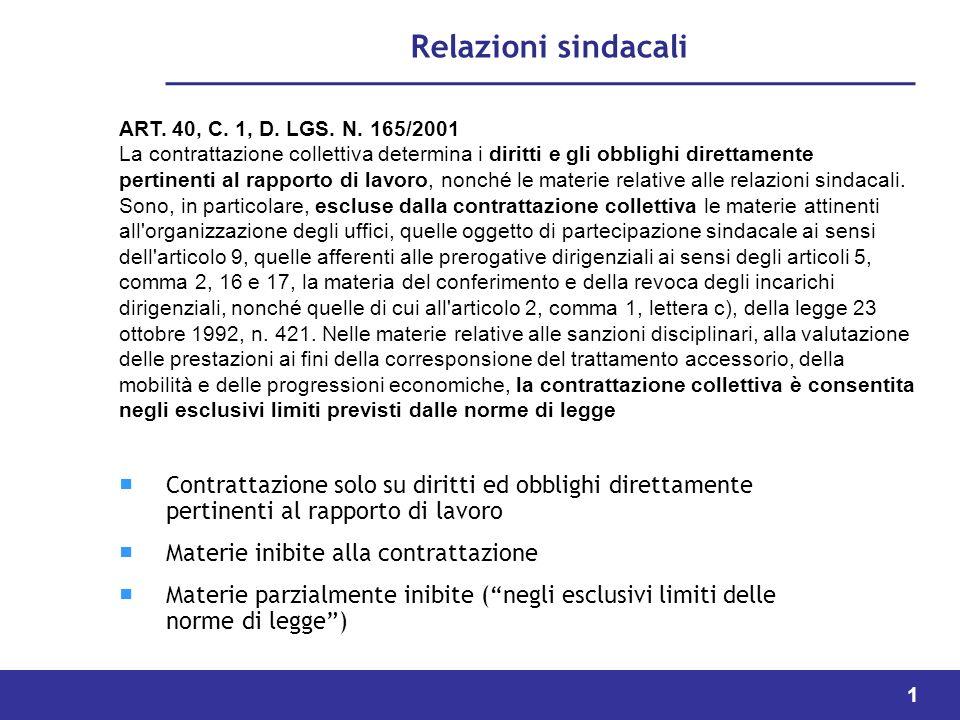 1 Relazioni sindacali Contrattazione solo su diritti ed obblighi direttamente pertinenti al rapporto di lavoro Materie inibite alla contrattazione Materie parzialmente inibite (negli esclusivi limiti delle norme di legge) ART.
