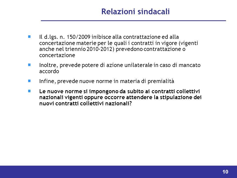 10 Relazioni sindacali Il d.lgs.n.