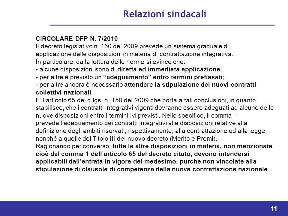 11 Relazioni sindacali CIRCOLARE DFP N.7/2010 Il decreto legislativo n.