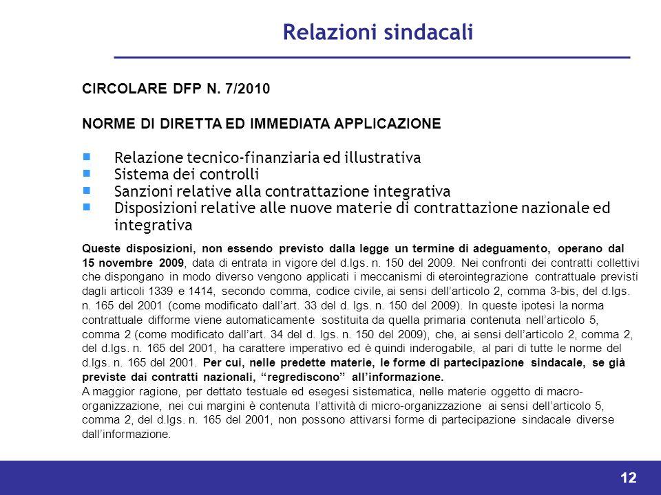 12 Relazioni sindacali CIRCOLARE DFP N.
