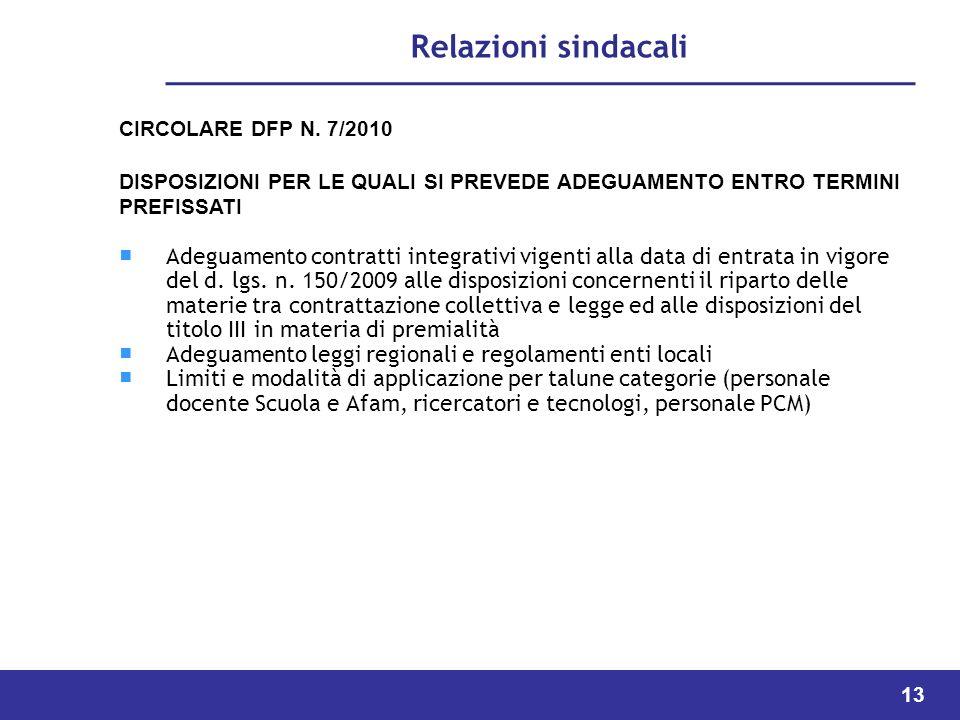 13 Relazioni sindacali CIRCOLARE DFP N.