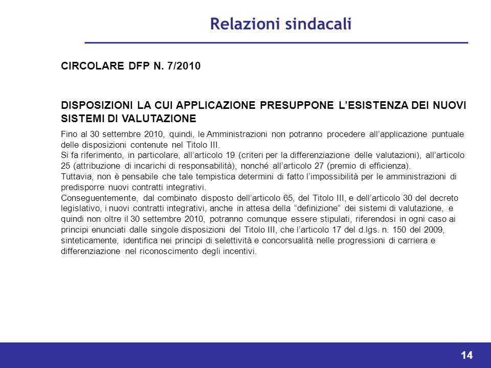 14 Relazioni sindacali CIRCOLARE DFP N.