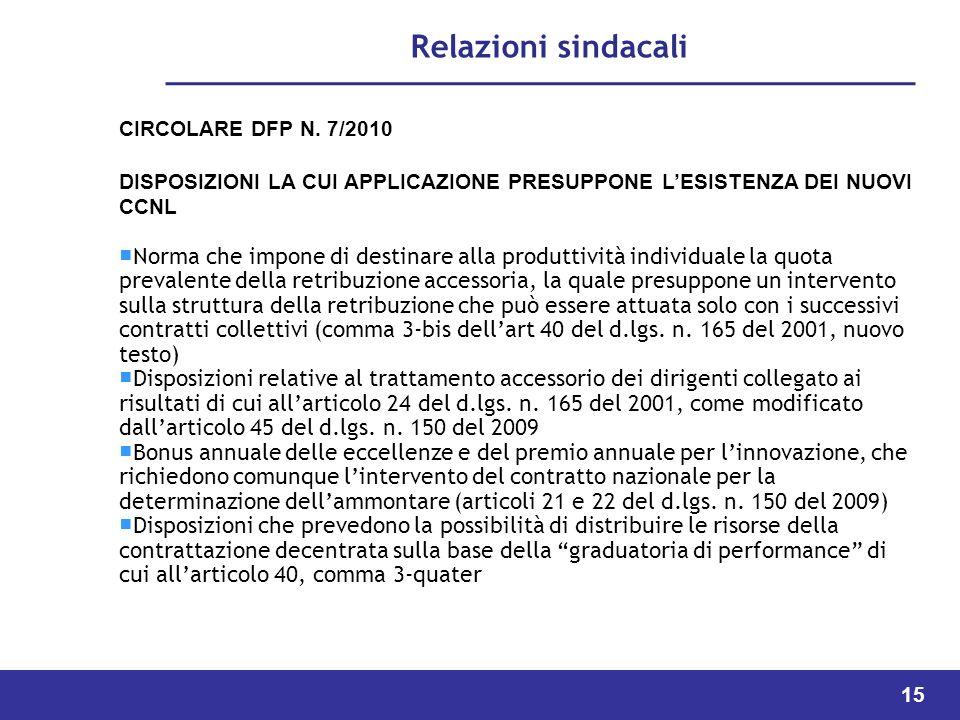 15 Relazioni sindacali CIRCOLARE DFP N.