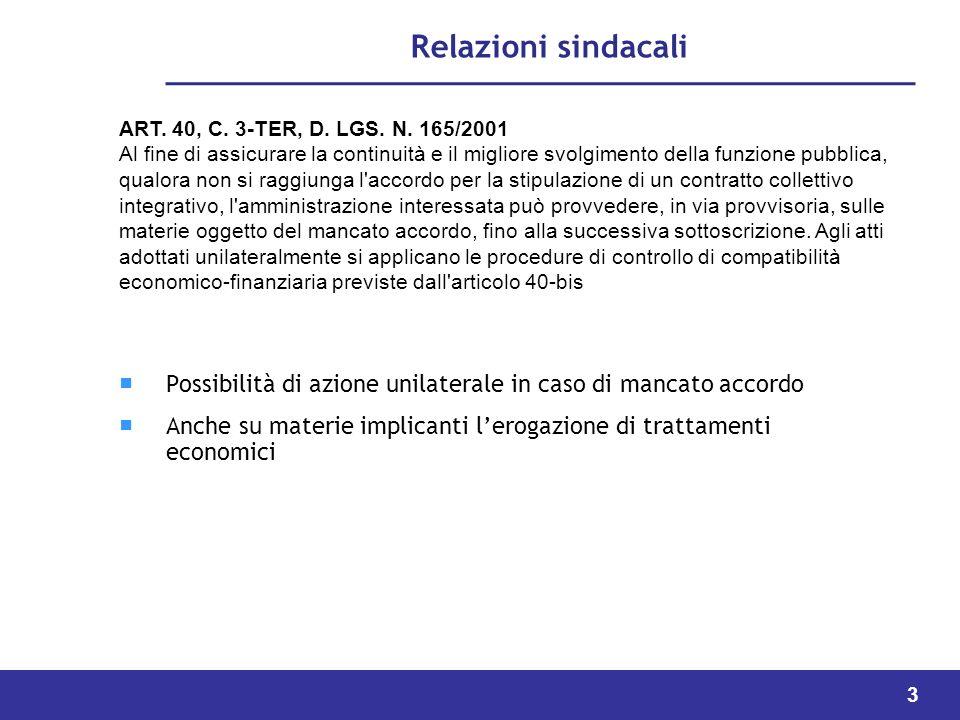 3 Relazioni sindacali Possibilità di azione unilaterale in caso di mancato accordo Anche su materie implicanti lerogazione di trattamenti economici ART.