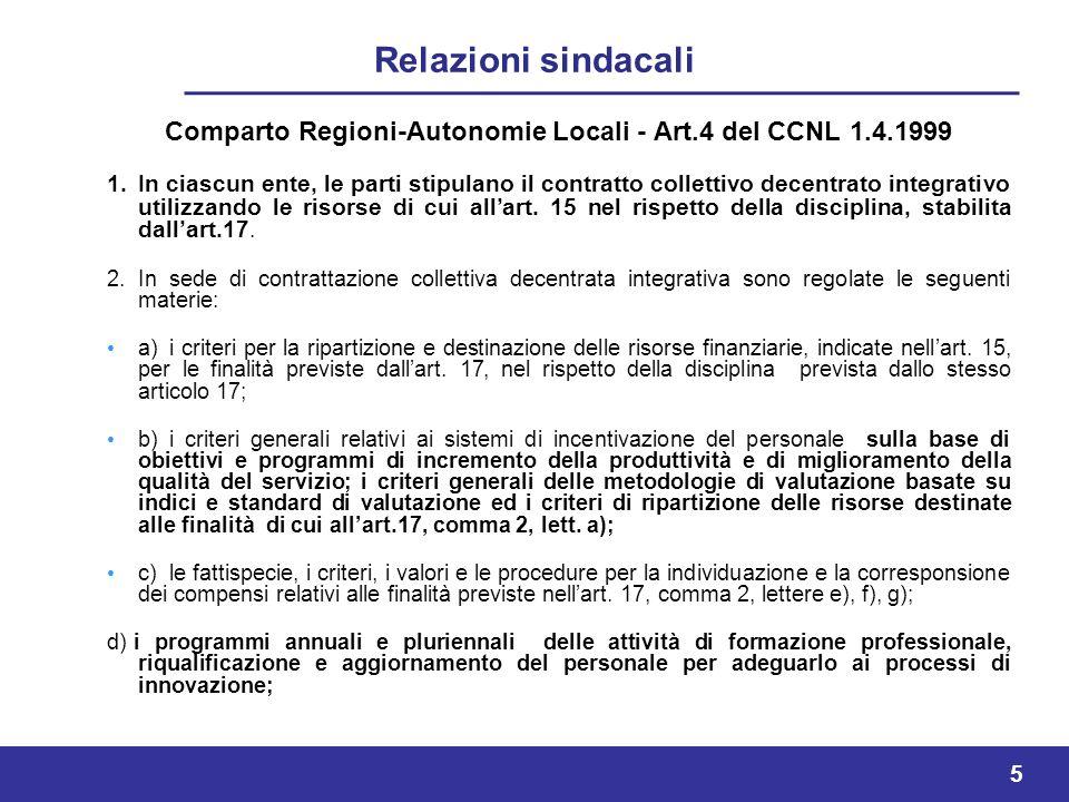 5 Comparto Regioni-Autonomie Locali - Art.4 del CCNL 1.4.1999 1.In ciascun ente, le parti stipulano il contratto collettivo decentrato integrativo utilizzando le risorse di cui allart.