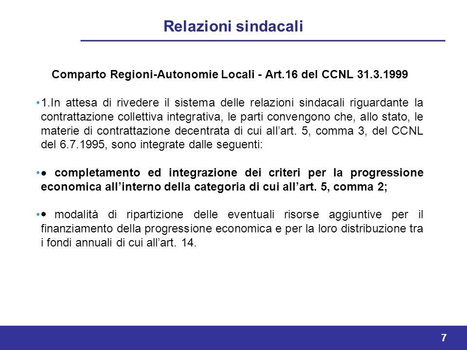 7 Relazioni sindacali Comparto Regioni-Autonomie Locali - Art.16 del CCNL 31.3.1999 1.In attesa di rivedere il sistema delle relazioni sindacali riguardante la contrattazione collettiva integrativa, le parti convengono che, allo stato, le materie di contrattazione decentrata di cui allart.