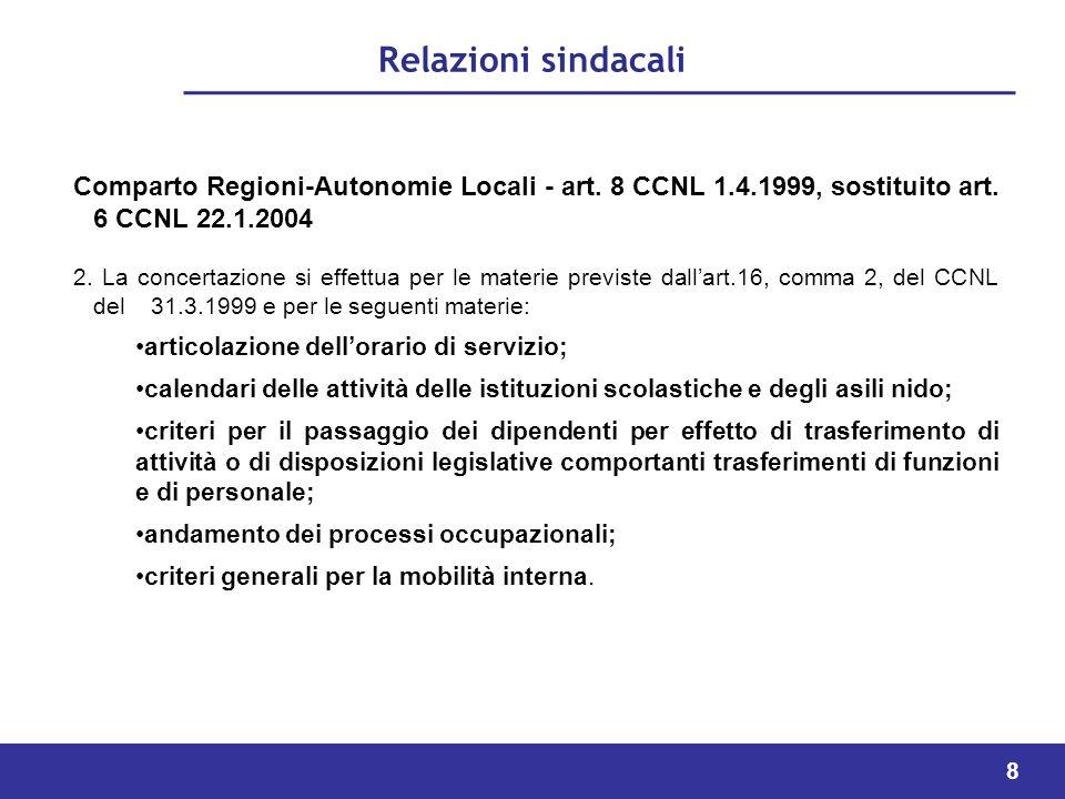 8 Relazioni sindacali Comparto Regioni-Autonomie Locali - art.