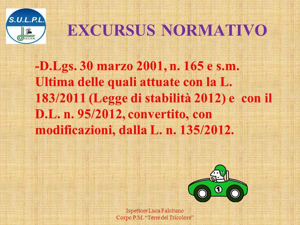 EXCURSUS NORMATIVO -D.Lgs.30 marzo 2001, n. 165 e s.m.