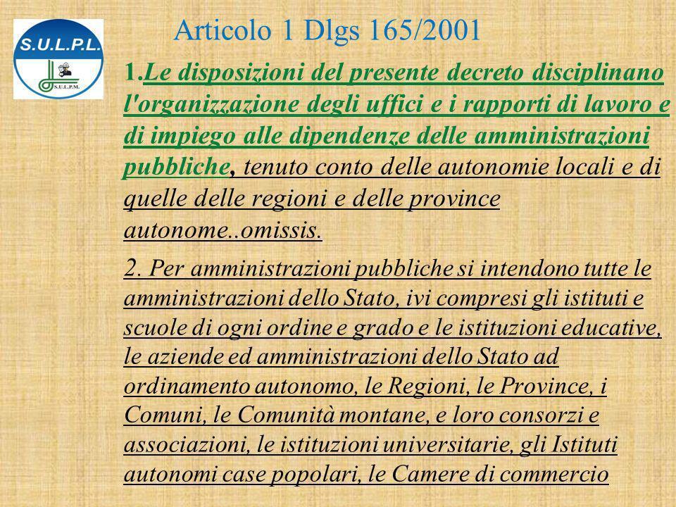 1.Le disposizioni del presente decreto disciplinano l organizzazione degli uffici e i rapporti di lavoro e di impiego alle dipendenze delle amministrazioni pubbliche, tenuto conto delle autonomie locali e di quelle delle regioni e delle province autonome..omissis.