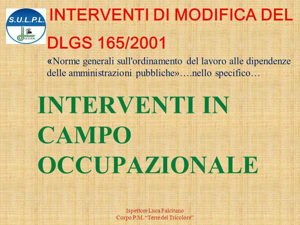 INTERVENTI IN CAMPO OCCUPAZIONALE Ispettore Luca Falcitano Corpo P.M.