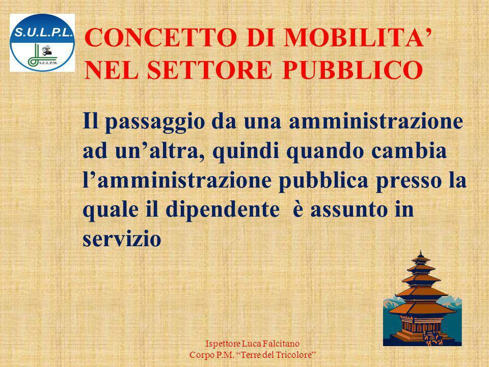 Il passaggio da una amministrazione ad unaltra, quindi quando cambia lamministrazione pubblica presso la quale il dipendente è assunto in servizio Ispettore Luca Falcitano Corpo P.M.