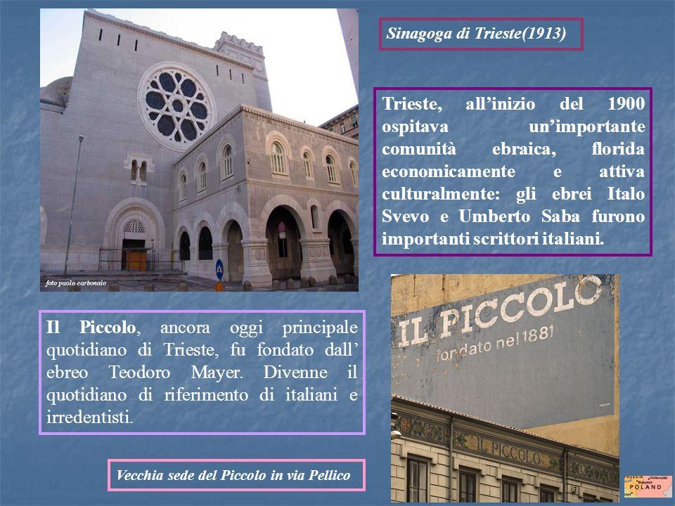Trieste, allinizio del 1900 ospitava unimportante comunità ebraica, florida economicamente e attiva culturalmente: gli ebrei Italo Svevo e Umberto Sab