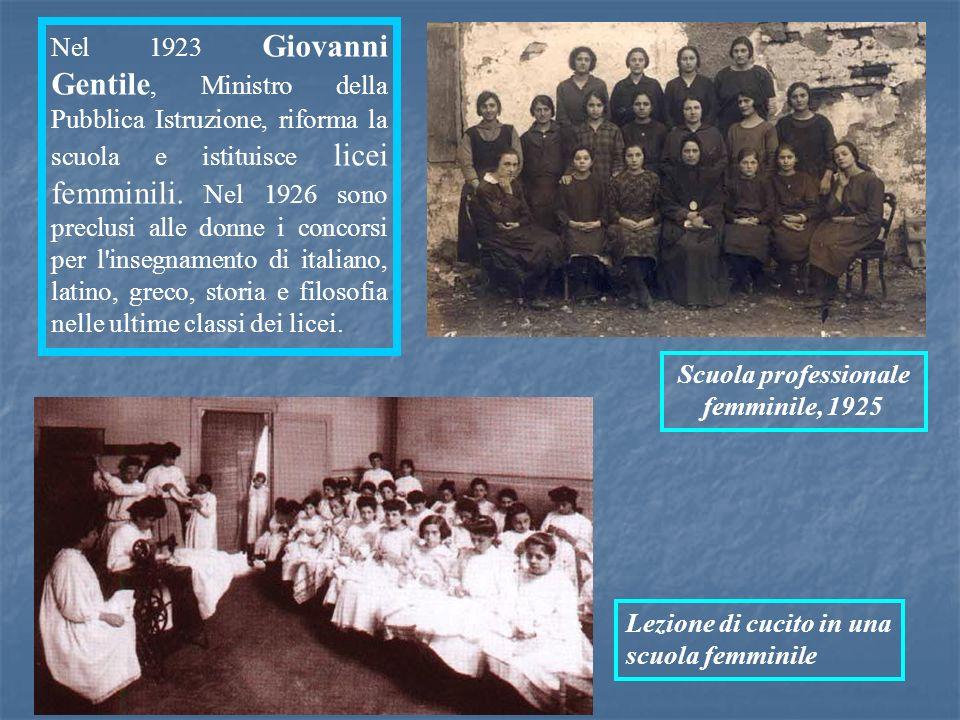 Nel 1923 Giovanni Gentile, Ministro della Pubblica Istruzione, riforma la scuola e istituisce licei femminili. Nel 1926 sono preclusi alle donne i con