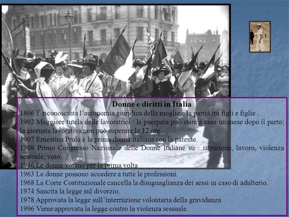 Donne e diritti in Italia 1866 É riconosciuta lautonomia giuridica della moglie e la parità tra figli e figlie. 1902 Maggiore tutela delle lavoratrici
