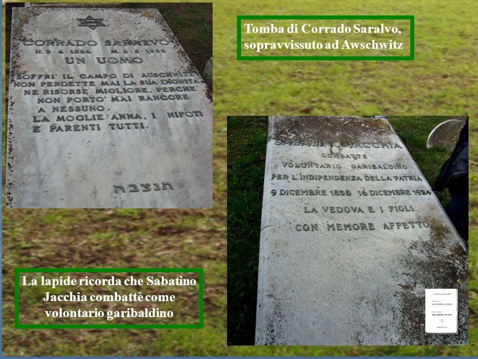 Tomba di Corrado Saralvo, sopravvissuto ad Awschwitz La lapide ricorda che Sabatino Jacchia combattè come volontario garibaldino