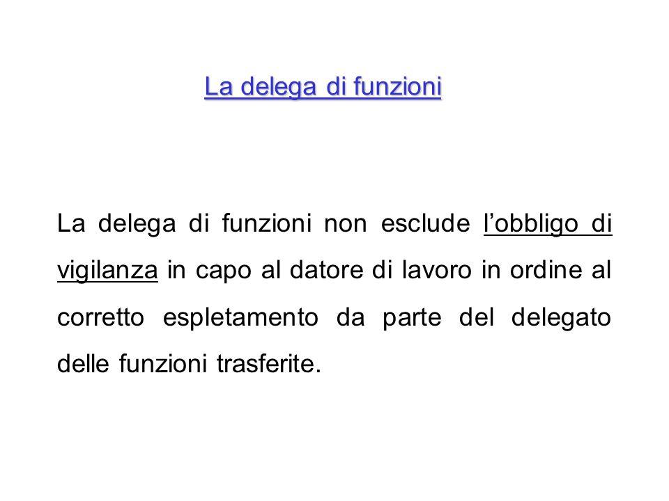 La delega di funzioni non esclude lobbligo di vigilanza in capo al datore di lavoro in ordine al corretto espletamento da parte del delegato delle fun