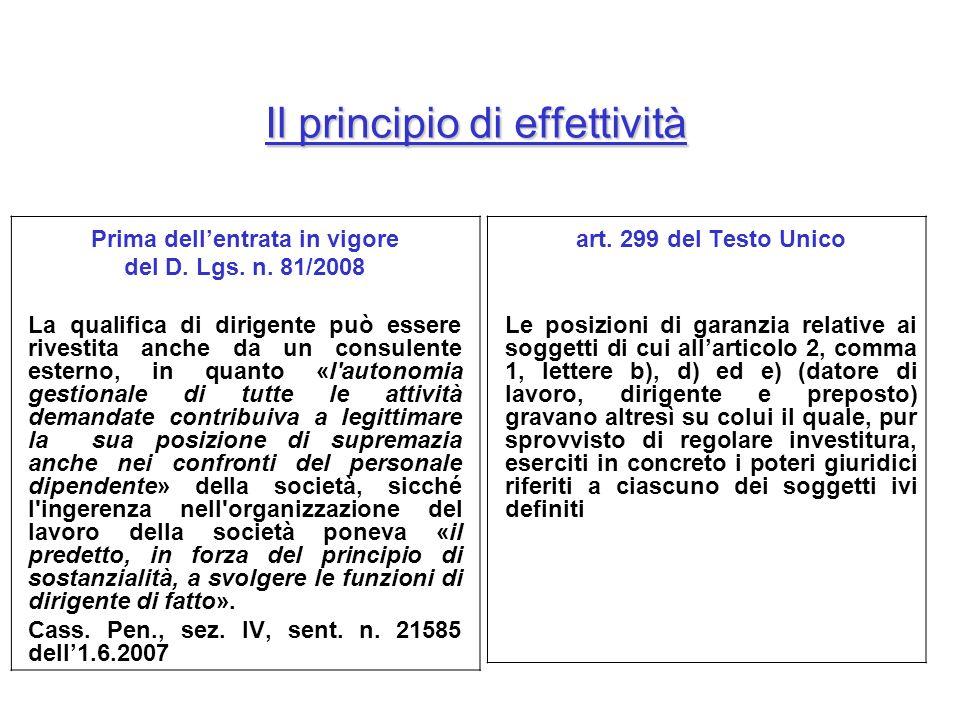 Prima dellentrata in vigore del D. Lgs. n. 81/2008 La qualifica di dirigente può essere rivestita anche da un consulente esterno, in quanto «l'autonom