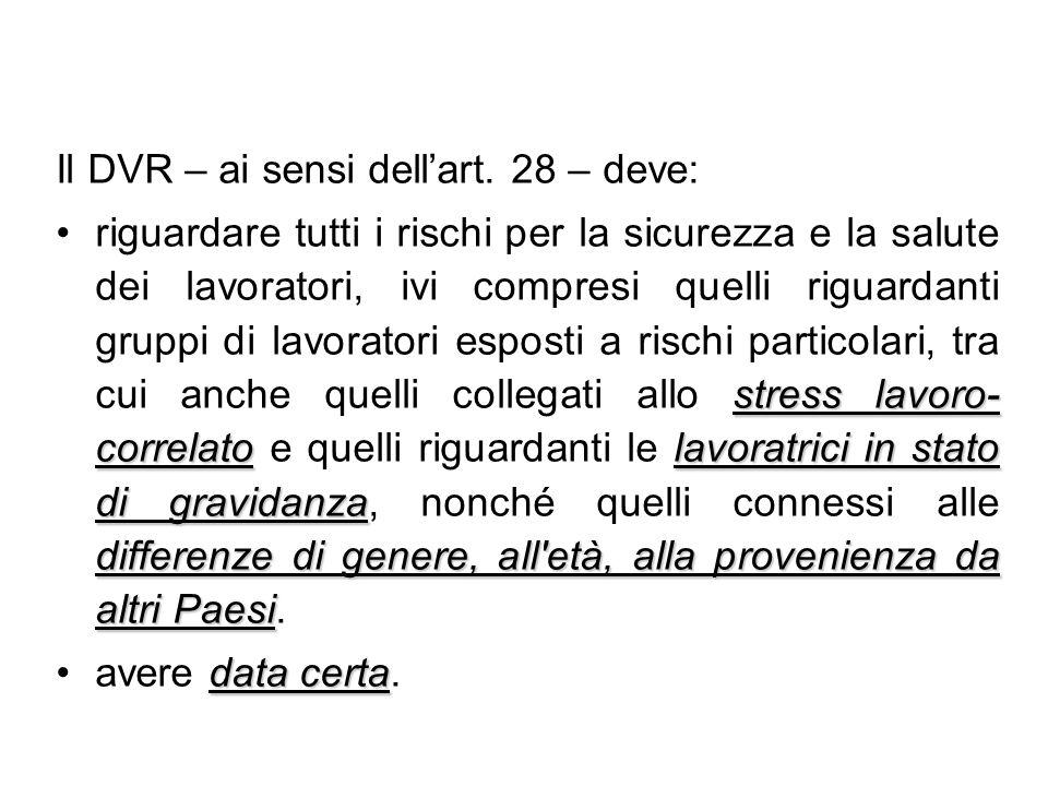 Il DVR – ai sensi dellart. 28 – deve: stress lavoro- correlatolavoratrici in stato di gravidanza differenze di genere, all'età, alla provenienza da al