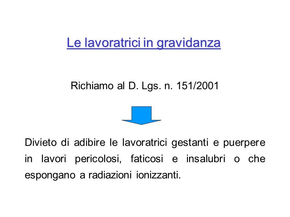 Le lavoratrici in gravidanza Richiamo al D. Lgs. n. 151/2001 Divieto di adibire le lavoratrici gestanti e puerpere in lavori pericolosi, faticosi e in