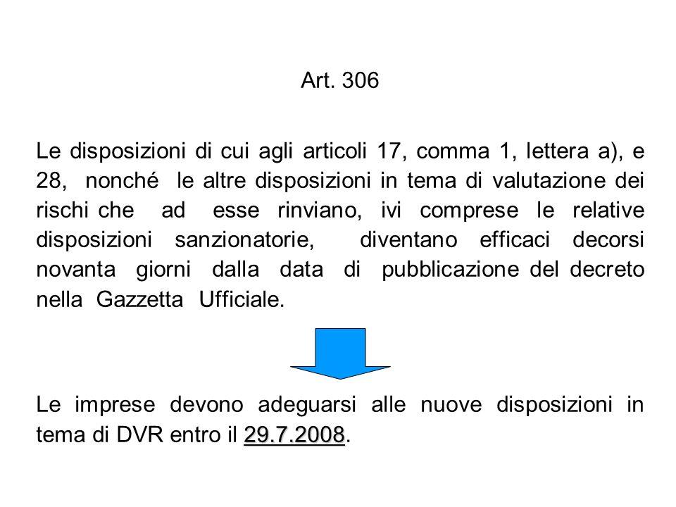 Art. 306 Le disposizioni di cui agli articoli 17, comma 1, lettera a), e 28, nonché le altre disposizioni in tema di valutazione dei rischi che ad ess