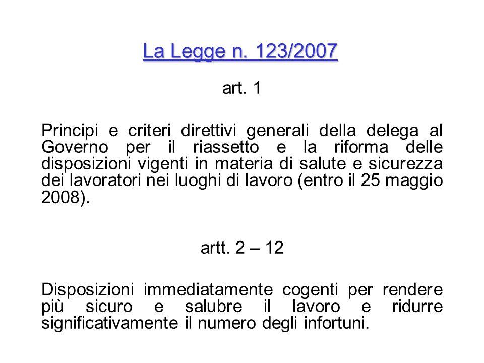 La Legge n. 123/2007 art. 1 Principi e criteri direttivi generali della delega al Governo per il riassetto e la riforma delle disposizioni vigenti in