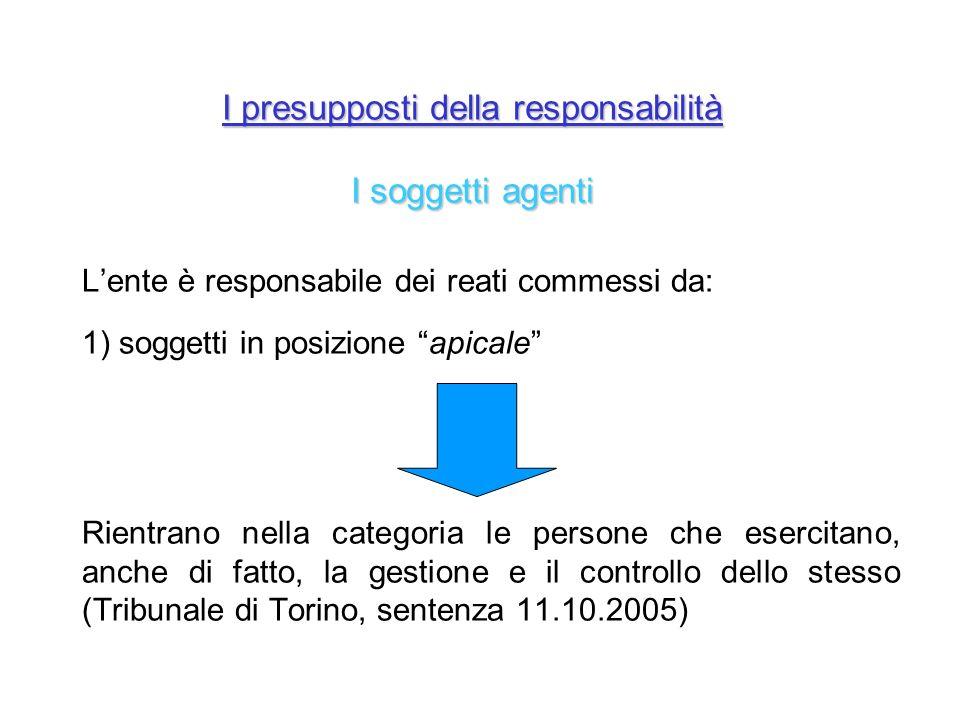 I presupposti della responsabilità I soggetti agenti Lente è responsabile dei reati commessi da: 1) soggetti in posizione apicale Rientrano nella cate