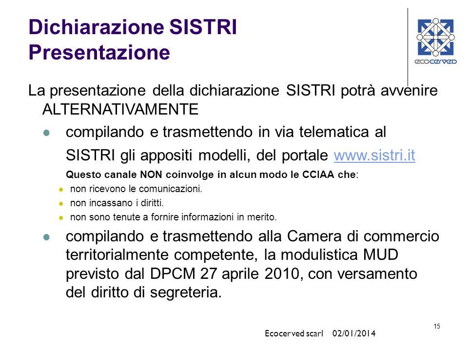 15 Dichiarazione SISTRI Presentazione La presentazione della dichiarazione SISTRI potrà avvenire ALTERNATIVAMENTE compilando e trasmettendo in via tel
