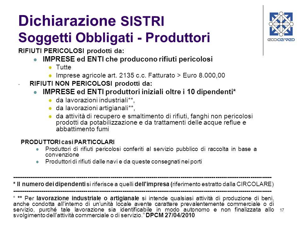 17 Dichiarazione SISTRI Soggetti Obbligati - Produttori RIFIUTI PERICOLOSI prodotti da: IMPRESE ed ENTI che producono rifiuti pericolosi Tutte Imprese