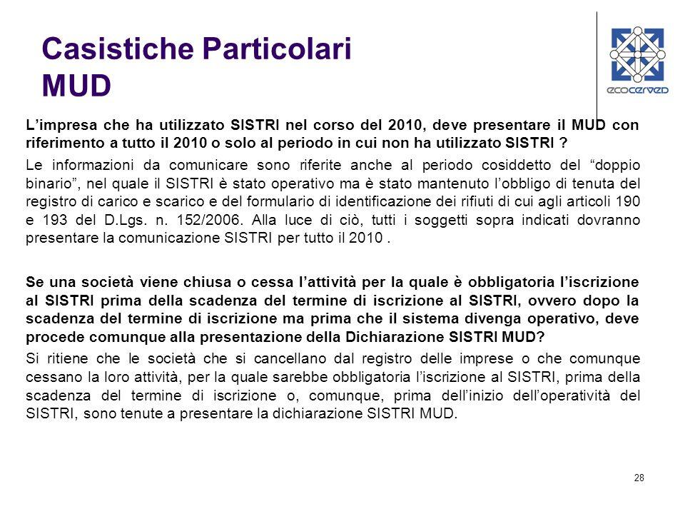 28 Limpresa che ha utilizzato SISTRI nel corso del 2010, deve presentare il MUD con riferimento a tutto il 2010 o solo al periodo in cui non ha utilizzato SISTRI .