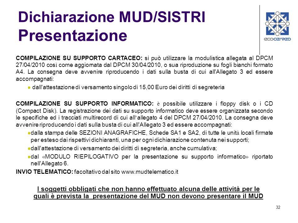 32 Dichiarazione MUD/SISTRI Presentazione COMPILAZIONE SU SUPPORTO CARTACEO: si può utilizzare la modulistica allegata al DPCM 27/04/2010 cos ì come aggiornata dal DPCM 30/04/2010, o sua riproduzione su fogli bianchi formato A4.