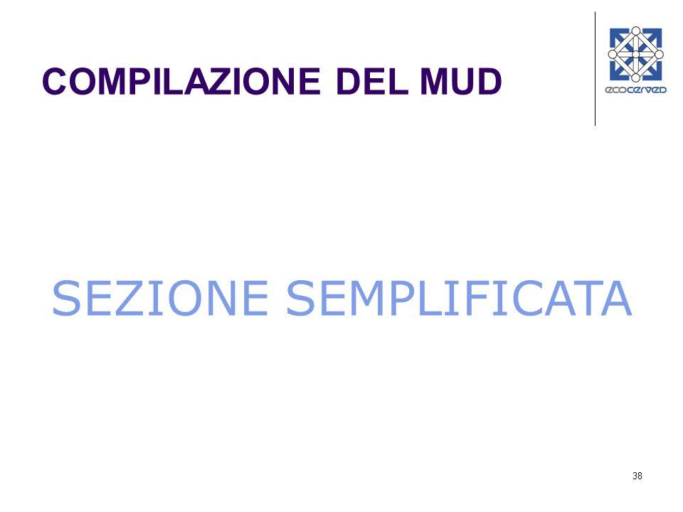 38 SEZIONE SEMPLIFICATA COMPILAZIONE DEL MUD