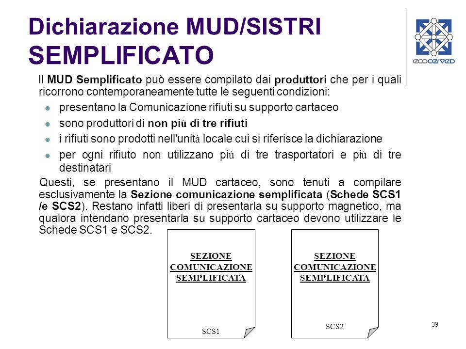 39 Dichiarazione MUD/SISTRI SEMPLIFICATO Il MUD Semplificato può essere compilato dai produttori che per i quali ricorrono contemporaneamente tutte le