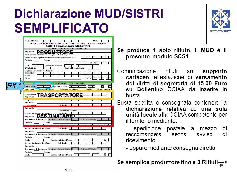 40 PRODUTTORE TRASPORTATORE DESTINATARIO Se produce 1 solo rifiuto, il MUD è il presente, modulo SCS1 Comunicazione rifiuti su supporto cartaceo, atte